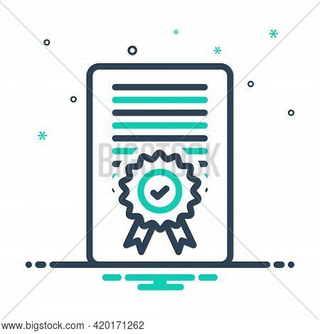 Mix Icon For Accreditation Certificate Diploma Document Accepted Confirmation