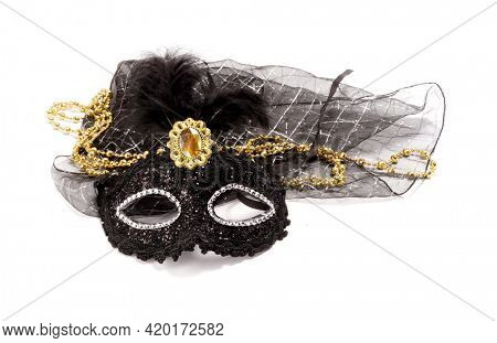 Black masquerade mask with feathers.  Festival.  Carnival