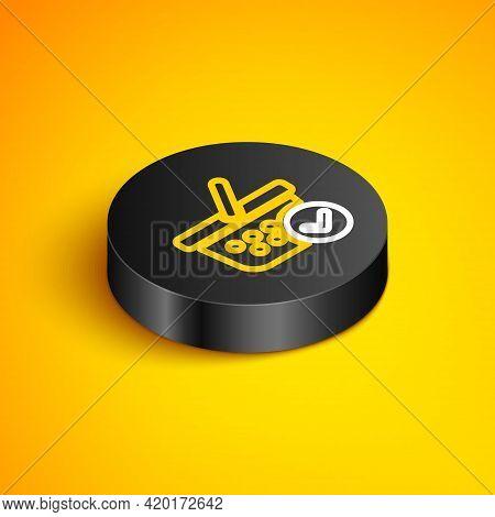 Isometric Line Shopping Basket With Check Mark Icon Isolated On Yellow Background. Supermarket Baske