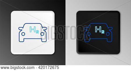 Line Hydrogen Car Icon Isolated On Grey Background. H2 Station Sign. Hydrogen Fuel Cell Car Eco Envi