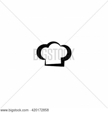 Chef Cap Line Icon Isolated On Blue. Cooking Cap. Menu Card. Bakery Logo. Flat Vector Illustration.