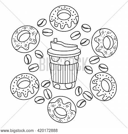 Coloring Book. Thermocup, Donuts, And Coffee Beans. Takeaway Coffee, Breakfast. Doodle Elements Vect