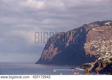 Tall Steep Cape Cabo Girao By Morning At Madeira Island