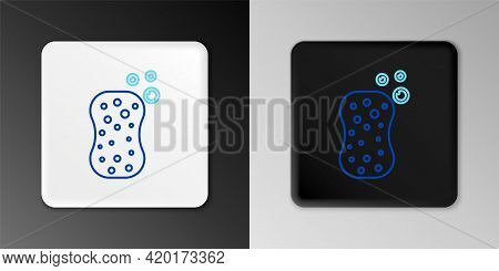 Line Sponge With Bubbles Icon Isolated On Grey Background. Wisp Of Bast For Washing Dishes. Cleaning