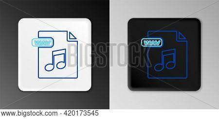 Line Wav File Document. Download Wav Button Icon Isolated On Grey Background. Wav Waveform Audio Fil