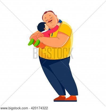 Happy Old Grandfather With Little Grandson. Senior Man Smiling Grandson Gently Hugging Him Relax. Fa