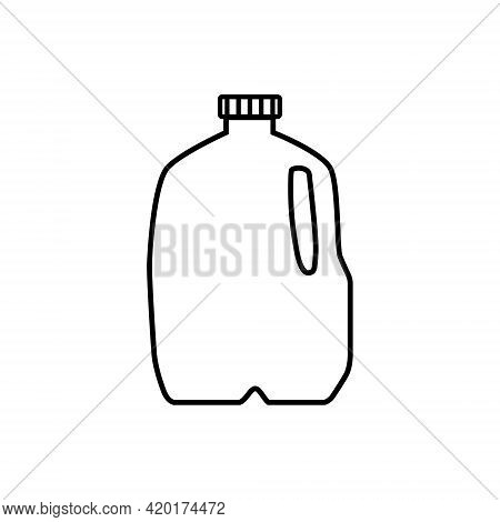 Icon Vector Illustration Of Milk In Plastic Gallon Jug. Isolated On White Background.