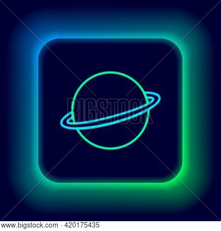 Glowing Neon Line Planet Saturn With Planetary Ring System Icon Isolated On Black Background. Colorf