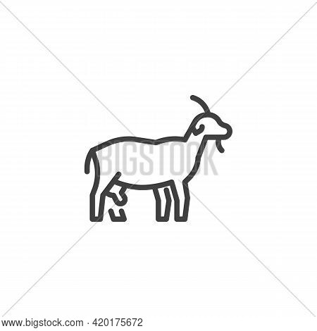 Goat Animal Line Icon. Linear Style Sign For Mobile Concept And Web Design. Dairy Goat Outline Vecto