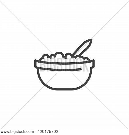 Cottage Cheese Line Icon. Linear Style Sign For Mobile Concept And Web Design. Bowl With Cottage Che
