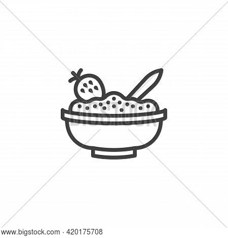 Bowl Of Porridge With Strawberry Line Icon. Linear Style Sign For Mobile Concept And Web Design. Str