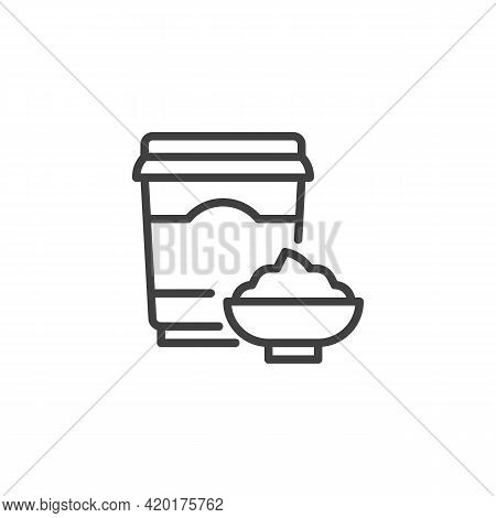 Sour Cream Line Icon. Linear Style Sign For Mobile Concept And Web Design. Dairy Yoghurt Cup Outline