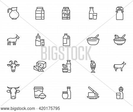 Dairy Products Line Icons Set. Linear Style Symbols Collection, Outline Signs Pack. Milk Products Ve