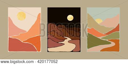 Abstract Bohemian Art Landscape Terracotta And Mint Green Tones. Boho Style. Mountain View, Sun, Moo