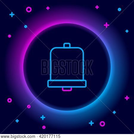 Glowing Neon Line Church Bell Icon Isolated On Black Background. Alarm Symbol, Service Bell, Handbel