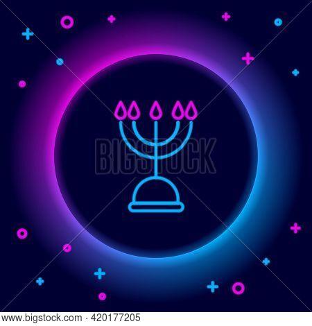 Glowing Neon Line Hanukkah Menorah Icon Isolated On Black Background. Hanukkah Traditional Symbol. H