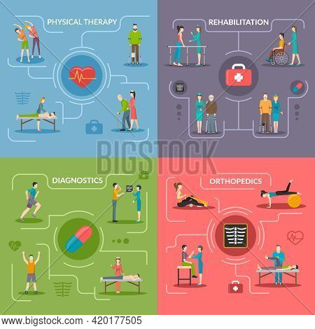 Physiotherapy Rehabilitation 2x2 Flat Design Concept Set Of Orthopedic Exercises Medical Diagnostics