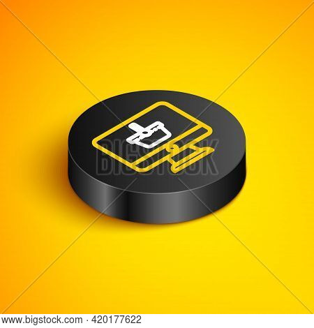 Isometric Line Computer Monitor With Shopping Basket Icon Isolated On Yellow Background. Online Shop