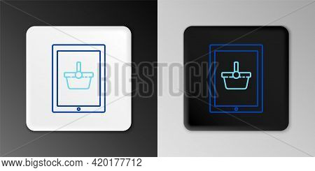 Line Shopping Basket On Screen Tablet Icon Isolated On Grey Background. Concept E-commerce, E-busine