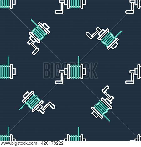 Line Spinning Reel For Fishing Icon Isolated Seamless Pattern On Black Background. Fishing Coil. Fis