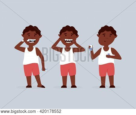 Set Of African American Boy Oral Care. The Boy Brushes His Teeth With An Electric Brush, Cleans The