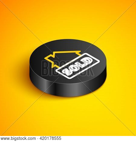 Isometric Line Hanging Sign With Text Sold Icon Isolated On Yellow Background. Sold Sticker. Sold Si