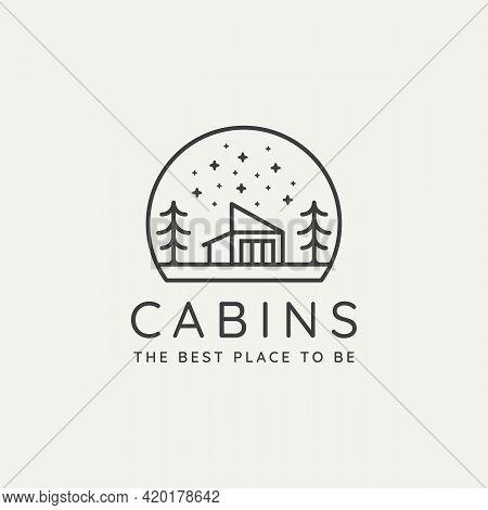 Winter Countryside Cabin Minimalist Line Art Badge Logo Template Vector Illustration Design. Simple