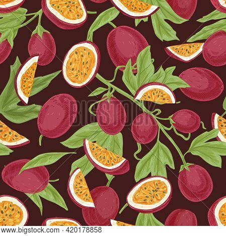 Seamless Tropical Pattern With Juicy Passion Fruits And Leaves. Hand-drawn Retro Background With Fre
