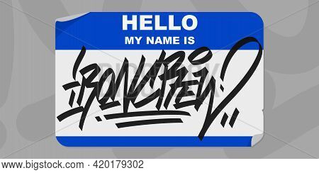 Abstract Graffiti Style Sticker Hello My Name Is With Some Street Art