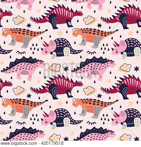 Vector Illustration. Dinosaurs Seamless Pattern. Triceratops, Stegosaurus And Nodosaurus On Ivory Ba