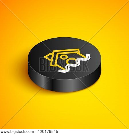 Isometric Line House Flood Icon Isolated On Yellow Background. Home Flooding Under Water. Insurance