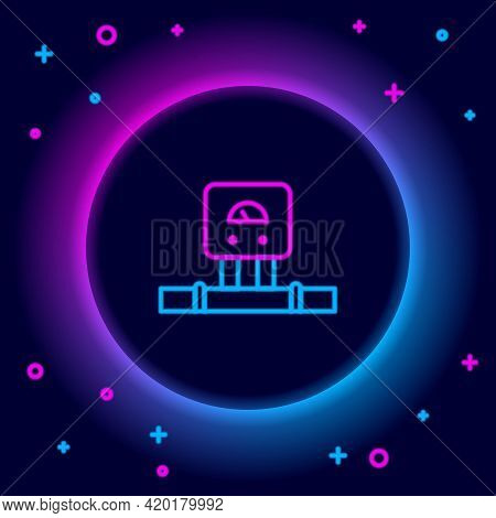 Glowing Neon Line Smart Sensor System Icon Isolated On Black Background. Internet Of Things Concept