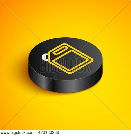 Isometric Line Canister For Gasoline Icon Isolated On Yellow Background. Diesel Gas Icon. Black Circ