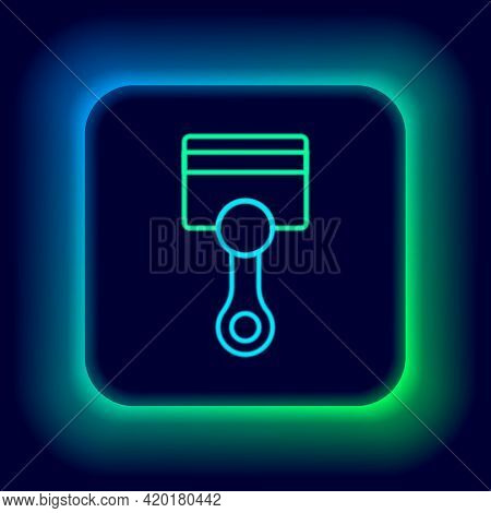 Glowing Neon Line Engine Piston Icon Isolated On Black Background. Car Engine Piston Sign. Colorful
