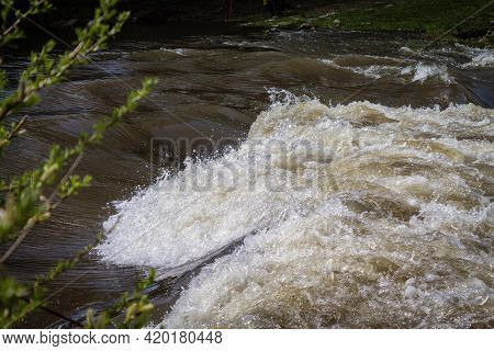 Strong River Current, Splash Of Water, Close-up Waves.
