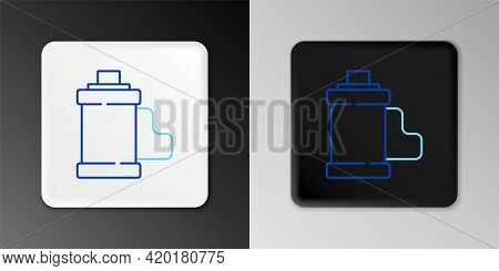Line Camera Vintage Film Roll Cartridge Icon Isolated On Grey Background. 35mm Film Canister. Filmst