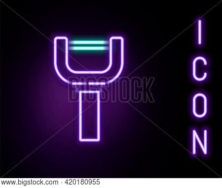 Glowing Neon Line Peeler Icon Isolated On Black Background. Knife For Cleaning Of Vegetables. Kitche