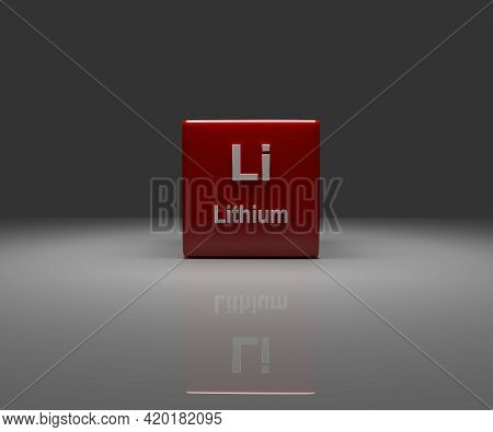 Red Cube With Li Lithium Periodic System, 3d Rendering