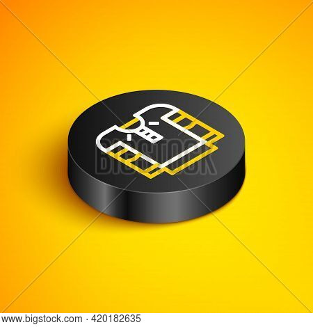Isometric Line Embroidered Shirt Icon Isolated On Yellow Background. National Ukrainian Clothing. Bl