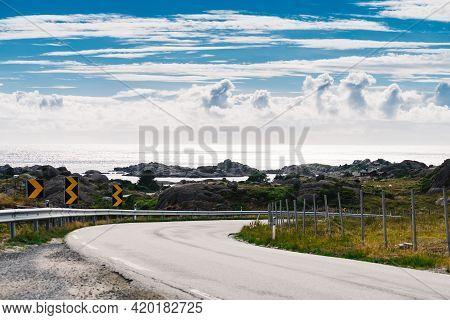National Tourist County Route Road 44 Jaeren, Sothern Norway. Norwegian Coastal Landscape.