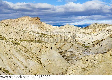 Tabernas Desert Wild And Barren Landscape In Almeria, Spain. Movie Location Set For Spaghetti Wester