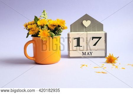 Calendar For May 17: Cubes With The Number 17, The Name Of The Month Of May In English, A Bouquet Of