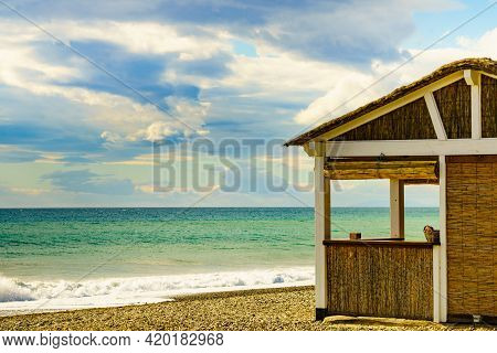 Sandy Seashore With Bamboo Hut Bar. Motril Beach. Costa Tropical, Province Granada, Andalucia Spain.