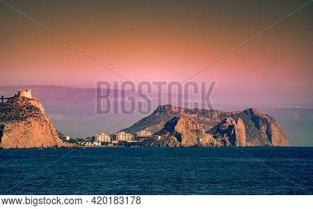 Spanish Coastal Landscpae With Castle San Juan On Cliff, Aguilas, Murcia Region, Spain.