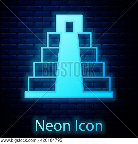Glowing Neon Chichen Itza In Mayan Icon Isolated On Brick Wall Background. Ancient Mayan Pyramid. Fa