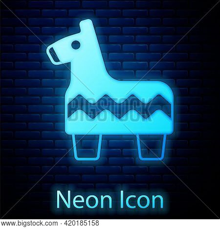 Glowing Neon Pinata Icon Isolated On Brick Wall Background. Mexican Traditional Birthday Toy. Vector