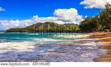 Wild Beach In Kauai On A Sunny Afternoon