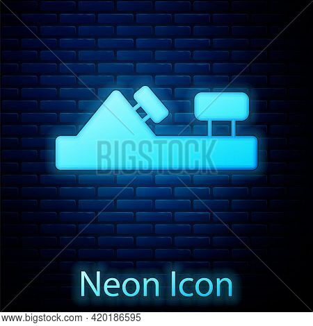 Glowing Neon Wood Plane Tool For Woodworker Hand Crafted Icon Isolated On Brick Wall Background. Joi