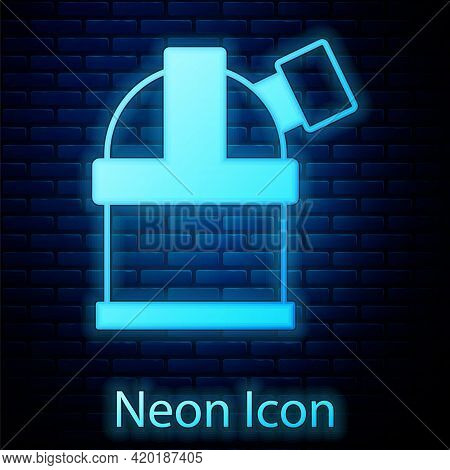 Glowing Neon Astronomical Observatory Icon Isolated On Brick Wall Background. Observatory With A Tel