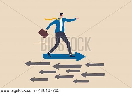 Contrary Investment, Be Different In Opposite Direction Concept, Businessman Riding Arrow In Differe